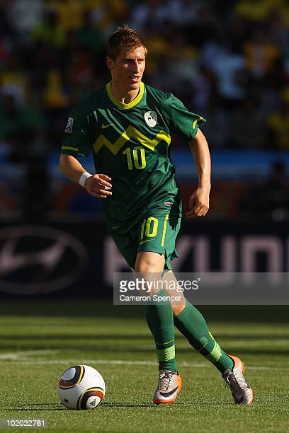 Valter Birsa of Slovenia runs with the ball during the 2010 FIFA World Cup South Africa Group C match between Algeria and Slovenia at the Peter...