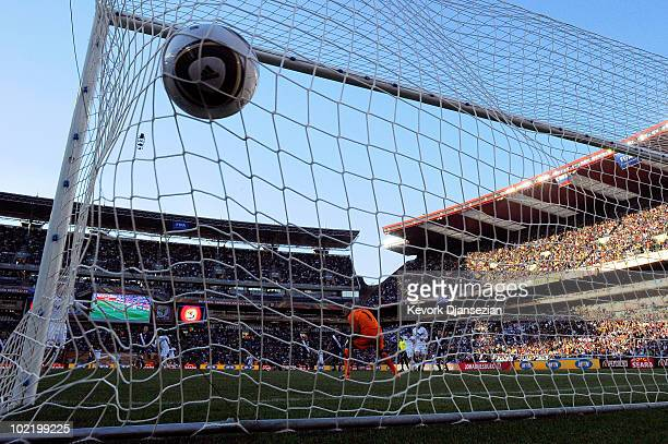 Valter Birsa of Slovenia scoring the first goal past Tim Howard of the United States during the 2010 FIFA World Cup South Africa Group C match...