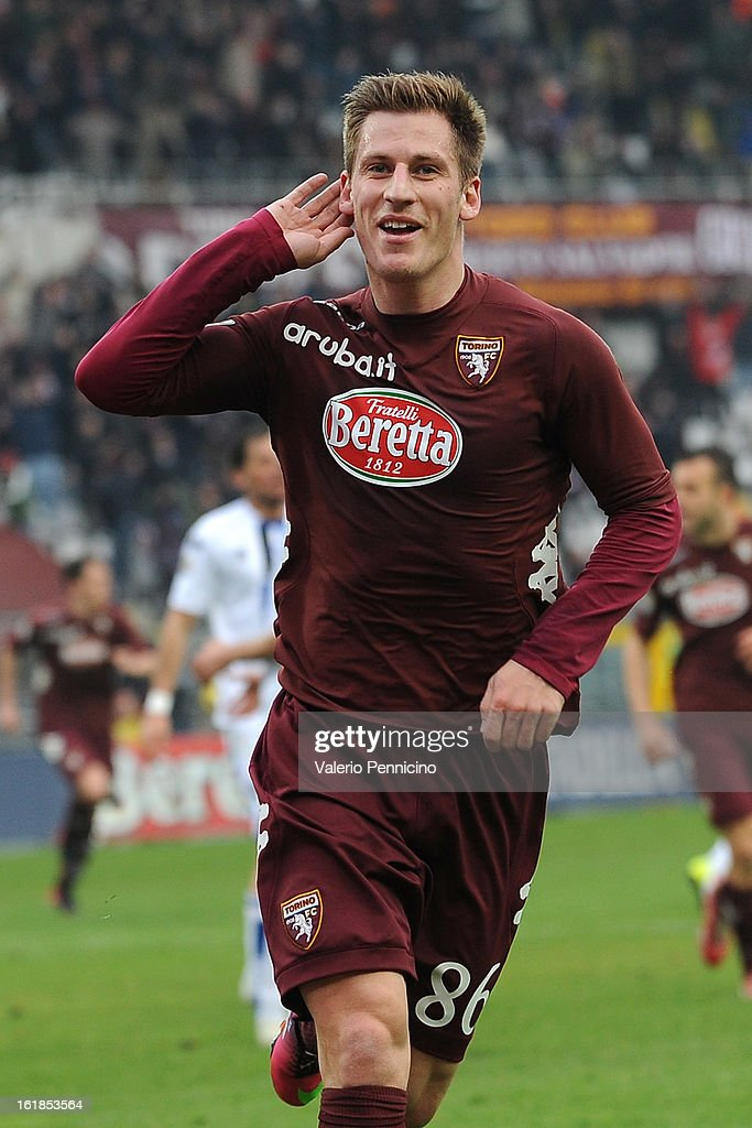 <a gi-track='captionPersonalityLinkClicked' href=/galleries/search?phrase=Valter+Birsa&family=editorial&specificpeople=1261683 ng-click='$event.stopPropagation()'>Valter Birsa</a> of Torino FC celebrates his goal during the Serie A match between Torino FC and Atalanta BC at Stadio Olimpico di Torino on February 17, 2013 in Turin, Italy.