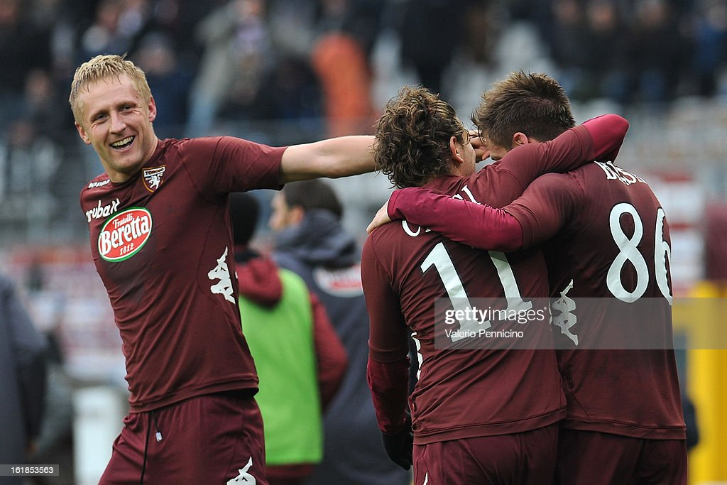 Valter Birsa (R) of Torino FC celebrates his goal with team mates Alessio Cerci (C) during the Serie A match between Torino FC and Atalanta BC at Stadio Olimpico di Torino on February 17, 2013 in Turin, Italy.