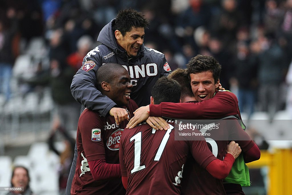 <a gi-track='captionPersonalityLinkClicked' href=/galleries/search?phrase=Valter+Birsa&family=editorial&specificpeople=1261683 ng-click='$event.stopPropagation()'>Valter Birsa</a> (C) of Torino FC celebrates his goal with team mates during the Serie A match between Torino FC and Atalanta BC at Stadio Olimpico di Torino on February 17, 2013 in Turin, Italy.