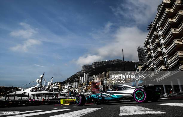 Valteri Bottas of Finland and AMG Petronas Mercedes driver during the practice session on Formula 1 Grand Prix de Monaco on May 25 2017 in Monte...