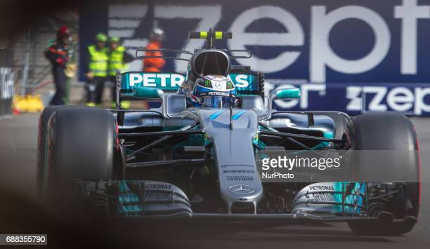 Valteri Bottas of Finland and AMG Petronas Mercedes driver goes during the first practice session on Formula 1 Grand Prix de Monaco on May 25 2017 in...