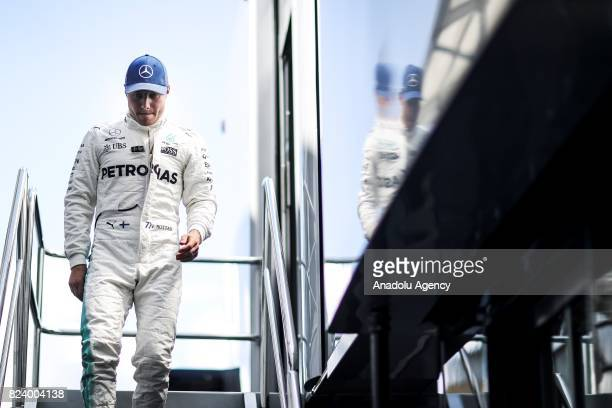 Valteri Bottas of Finnland walks before practice for the Formula One Grand Prix of Hungary at Hungaroring on July 28 2017 in Budapest Hungary
