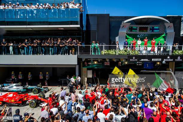 Valterri Bottas of Mercedes and Finland Sebastian Vettel of Ferrari and Germany Kimi Raikkonen of Ferrari and Finland during the Formula One Grand...