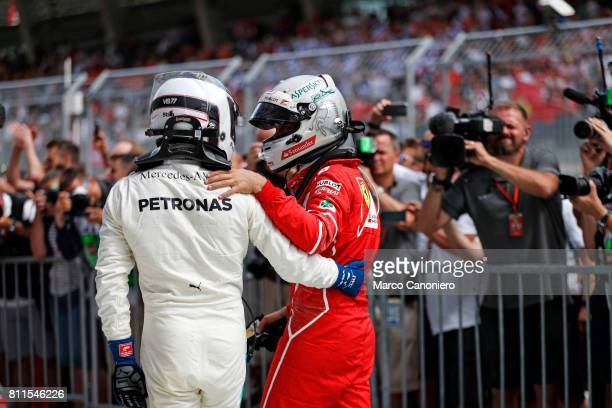 Valtteri Bottas and Sebastian Vettel in parc ferme after the Formula One Grand Prix of Austria