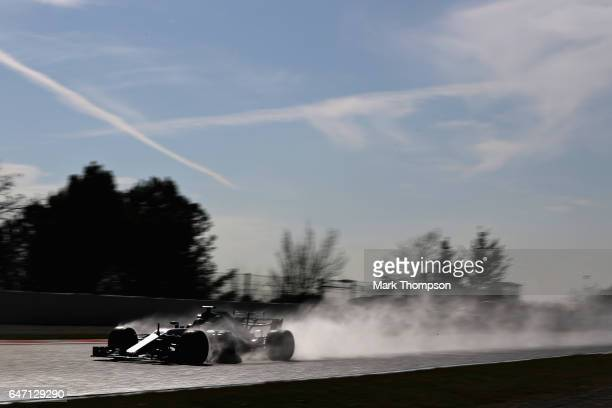 Valtteri Bottas driving the Mercedes AMG Petronas F1 Team Mercedes F1 WO8 on track during day four of Formula One winter testing at Circuit de...
