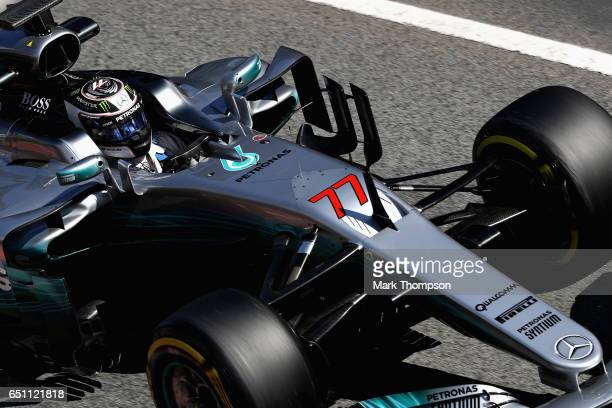 Valtteri Bottas driving the Mercedes AMG Petronas F1 Team Mercedes F1 WO8 on track during the final day of Formula One winter testing at Circuit de...