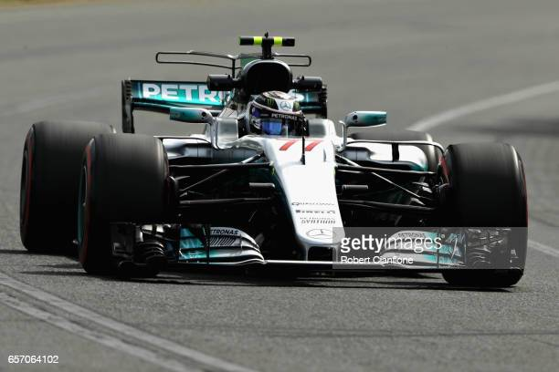 Valtteri Bottas driving the Mercedes AMG Petronas F1 Team Mercedes F1 WO8 on track during practice for the Australian Formula One Grand Prix at...