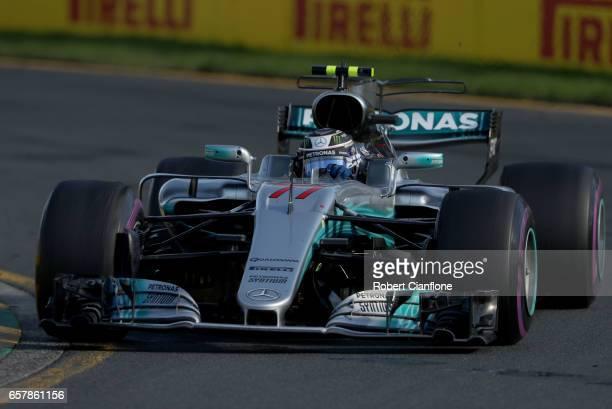 Valtteri Bottas driving the Mercedes AMG Petronas F1 Team Mercedes F1 WO8 on track during the Australian Formula One Grand Prix at Albert Park on...