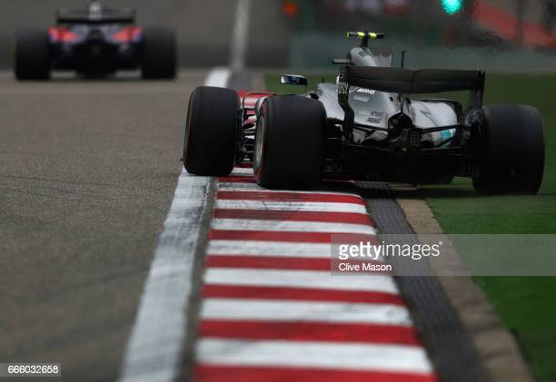 Valtteri Bottas driving the Mercedes AMG Petronas F1 Team Mercedes F1 WO8 goes wide on track during final practice for the Formula One Grand Prix of...