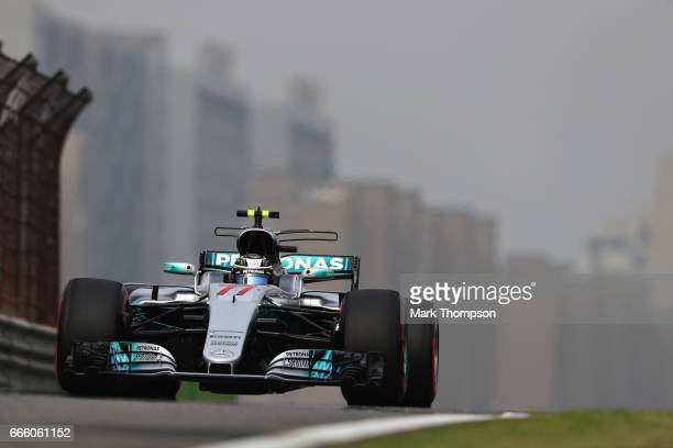 Valtteri Bottas driving the Mercedes AMG Petronas F1 Team Mercedes F1 WO8 on track during qualifying for the Formula One Grand Prix of China at...