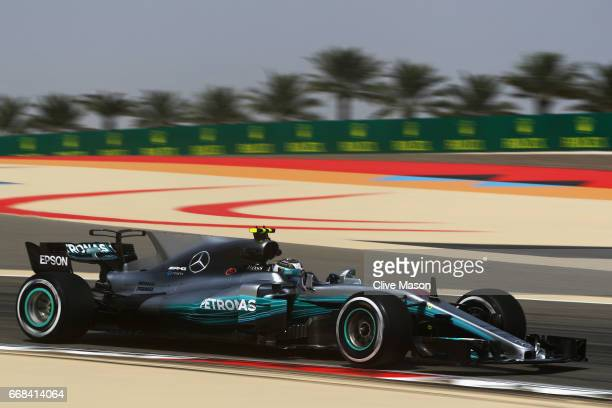 Valtteri Bottas driving the Mercedes AMG Petronas F1 Team Mercedes F1 WO8 on track during practice for the Bahrain Formula One Grand Prix at Bahrain...