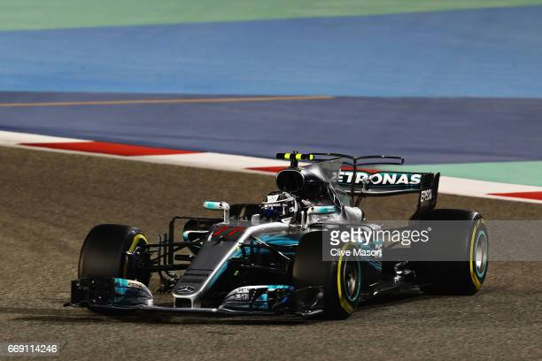 Valtteri Bottas driving the Mercedes AMG Petronas F1 Team Mercedes F1 WO8 on track during the Bahrain Formula One Grand Prix at Bahrain International...