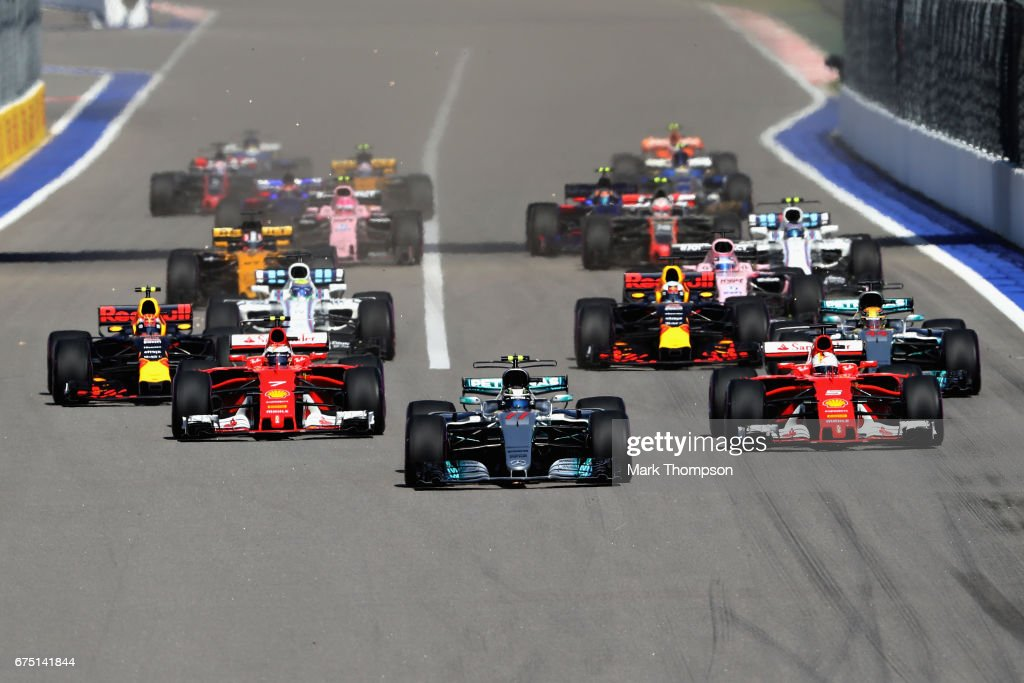 Valtteri Bottas driving the (77) Mercedes AMG Petronas F1 Team Mercedes F1 WO8 leads the field into turn 2 at the start during the Formula One Grand Prix of Russia on April 30, 2017 in Sochi, Russia.