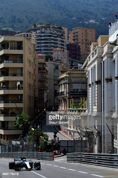 Valtteri Bottas driving the Mercedes AMG Petronas F1 Team Mercedes F1 WO8 on track during practice for the Monaco Formula One Grand Prix at Circuit...