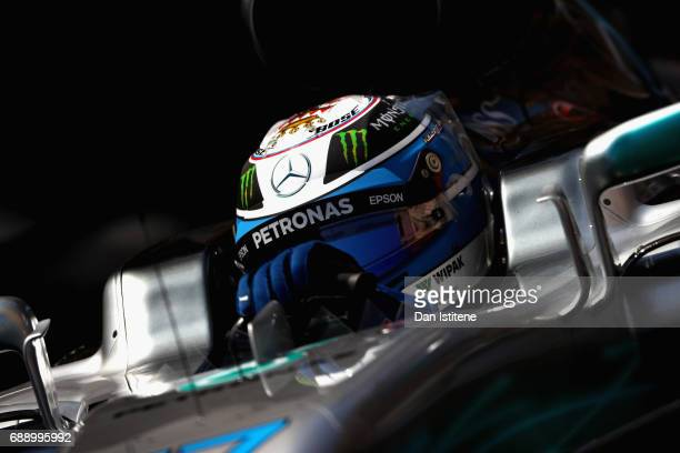 Valtteri Bottas driving the Mercedes AMG Petronas F1 Team Mercedes F1 WO8 on track during qualifying for the Monaco Formula One Grand Prix at Circuit...