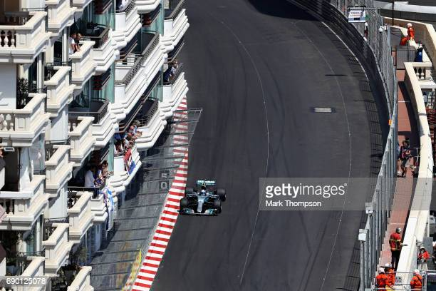 Valtteri Bottas driving the Mercedes AMG Petronas F1 Team Mercedes F1 WO8 on track during the Monaco Formula One Grand Prix at Circuit de Monaco on...