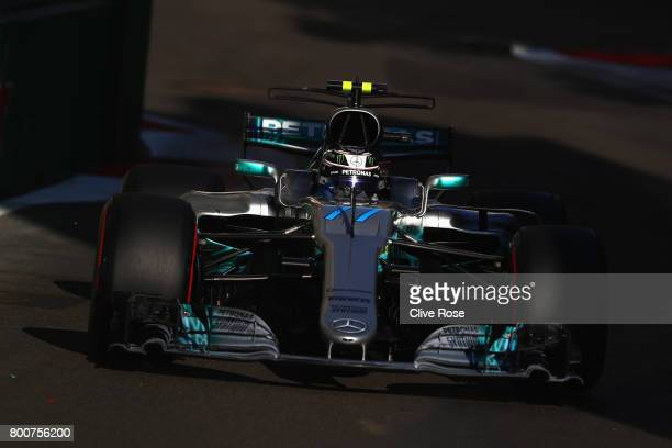 Valtteri Bottas driving the Mercedes AMG Petronas F1 Team Mercedes F1 WO8 on track during the Azerbaijan Formula One Grand Prix at Baku City Circuit...