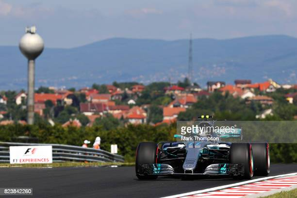 Valtteri Bottas driving the Mercedes AMG Petronas F1 Team Mercedes F1 WO8 on track during practice for the Formula One Grand Prix of Hungary at...