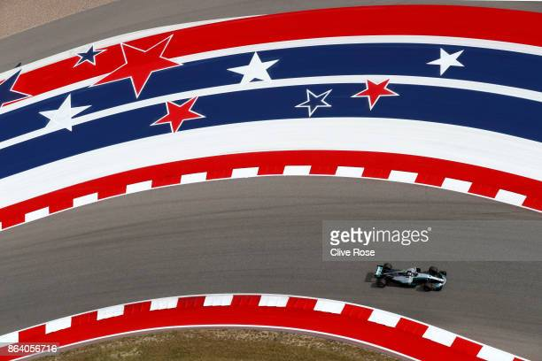 Valtteri Bottas driving the Mercedes AMG Petronas F1 Team Mercedes F1 WO8 on track during practice for the United States Formula One Grand Prix at...