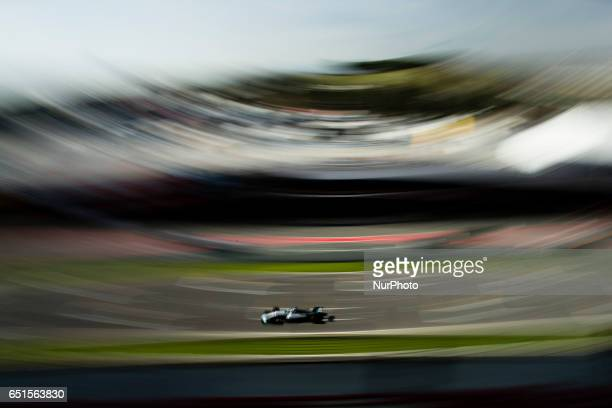 Valtteri Bottas from Finland of Mercedes W08 Hybrid EQ Power team Mercedes GP in action during the Formula One winter testing at Circuit de Catalunya...