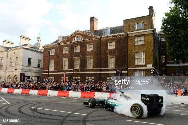 Valtteri Bottas of Finland and Mercedes GP driving the Mercedes F1 W06 during F1 Live London at Trafalgar Square on July 12 2017 in London England F1...