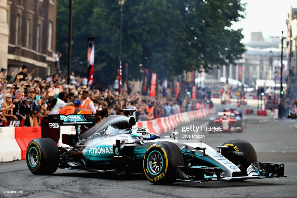 Valtteri Bottas of Finland and Mercedes GP driving the Mercedes F1 W06 during F1 Live London at Trafalgar Square on July 12, 2017 in London, England. F1 Live London, the first time in Formula 1 history that all 10 teams come together outside of a race weekend to put on a show for the public in the heart of London.