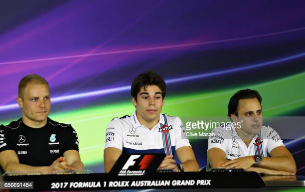 Valtteri Bottas of Finland and Mercedes GP Lance Stroll of Canada and Williams and Felipe Massa of Brazil and Williams in the Drivers Press...