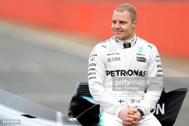 Valtteri Bottas of Finland and Mercedes GP poses during the launch of the Mercedes formula one team's 2017 car the W08 at Silverstone Circuit on...