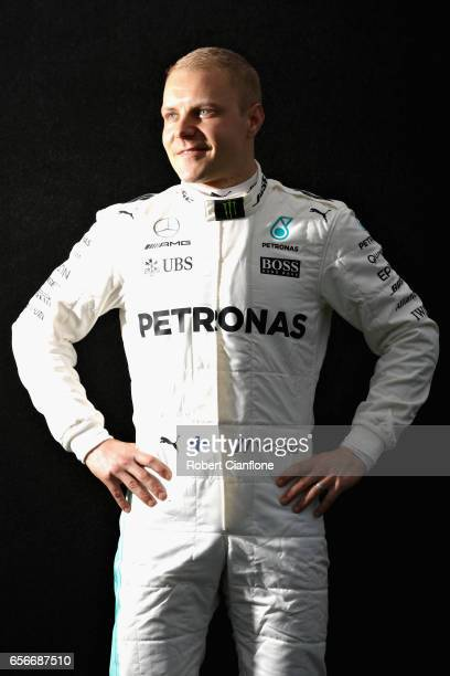 Valtteri Bottas of Finland and Mercedes GP poses for a portrait during previews to the Australian Formula One Grand Prix at Albert Park on March 23...