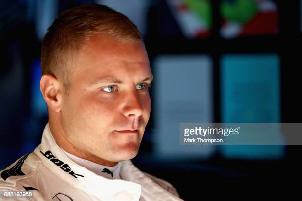 Valtteri Bottas of Finland and Mercedes GP prepares to drive in the garage during practice for the Spanish Formula One Grand Prix at Circuit de...