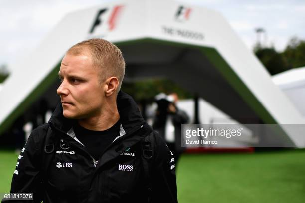 Valtteri Bottas of Finland and Mercedes GP walks in the Paddock during previews for the Spanish Formula One Grand Prix at Circuit de Catalunya on May...