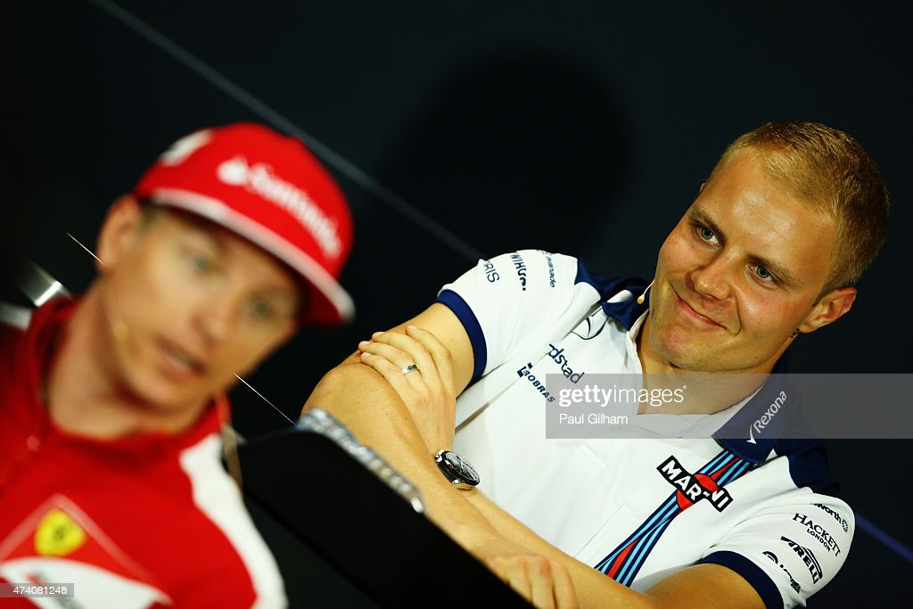 <a gi-track='captionPersonalityLinkClicked' href=/galleries/search?phrase=Valtteri+Bottas&family=editorial&specificpeople=8640136 ng-click='$event.stopPropagation()'>Valtteri Bottas</a> of Finland and Williams (rear) and <a gi-track='captionPersonalityLinkClicked' href=/galleries/search?phrase=Kimi+Raikkonen&family=editorial&specificpeople=201904 ng-click='$event.stopPropagation()'>Kimi Raikkonen</a> of Finland and Ferrari (front) attend the drivers press conference during previews to the Monaco Formula One Grand Prix at Circuit de Monaco on May 20, 2015 in Monte-Carlo, Monaco.