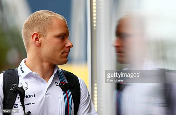 Valtteri Bottas of Finland and Williams arrives in the paddock ahead of the Formula One Grand Prix of Germany at Hockenheimring on July 31 2016 in...