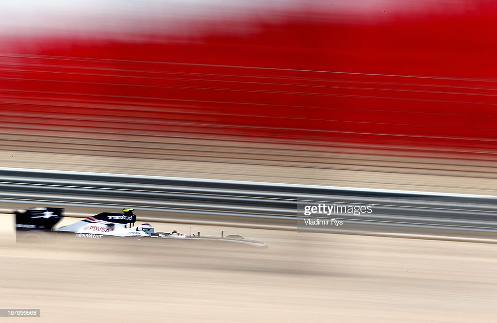 Valtteri Bottas of Finland and Williams drives during final practice session prior qualifying for the Bahrain Formula One Grand Prix at the Bahrain International Circuit on April 20, 2013 in Sakhir, Bahrain.