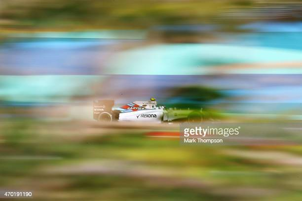 Valtteri Bottas of Finland and Williams drives during final practice for the Bahrain Formula One Grand Prix at Bahrain International Circuit on April...