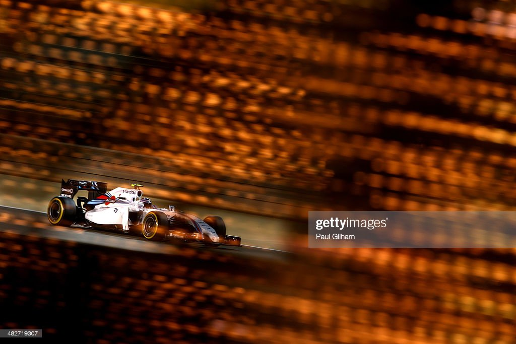 Valtteri Bottas of Finland and Williams drives during practice for the Bahrain Formula One Grand Prix at the Bahrain International Circuit on April 4, 2014 in Sakhir, Bahrain.