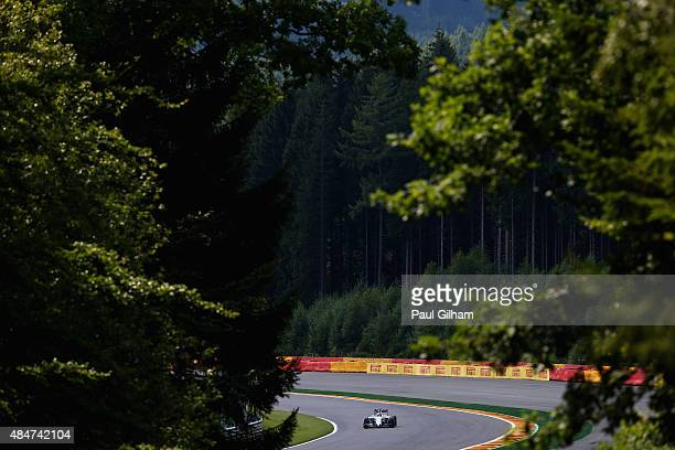 Valtteri Bottas of Finland and Williams drives during practice for the Formula One Grand Prix of Belgium at Circuit de SpaFrancorchamps on August 21...