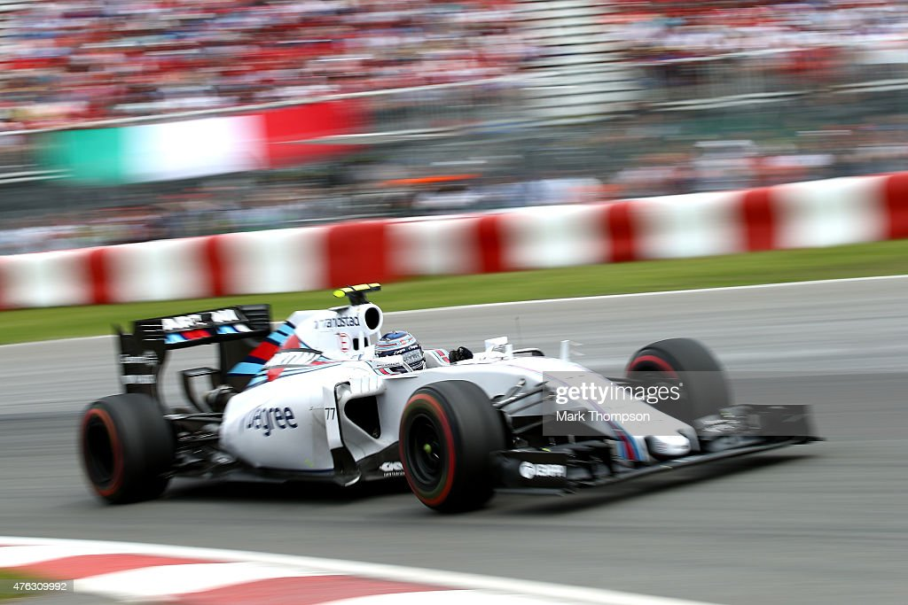 <a gi-track='captionPersonalityLinkClicked' href=/galleries/search?phrase=Valtteri+Bottas&family=editorial&specificpeople=8640136 ng-click='$event.stopPropagation()'>Valtteri Bottas</a> of Finland and Williams drives during the Canadian Formula One Grand Prix at Circuit Gilles Villeneuve on June 7, 2015 in Montreal, Canada.