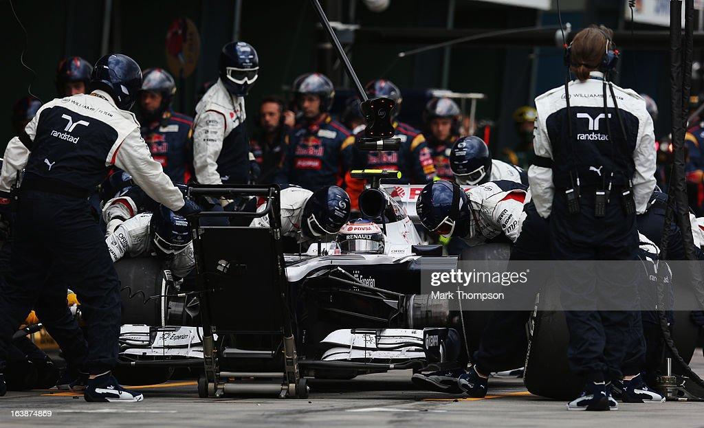 Valtteri Bottas of Finland and Williams drives in for a pitstop during the Australian Formula One Grand Prix at the Albert Park Circuit on March 17, 2013 in Melbourne, Australia.