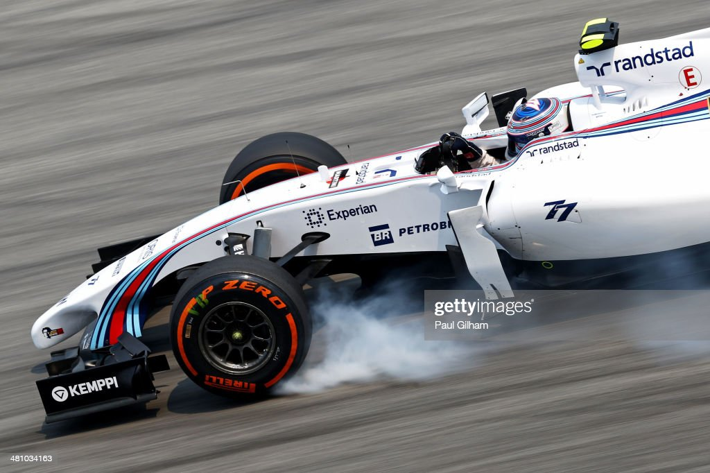<a gi-track='captionPersonalityLinkClicked' href=/galleries/search?phrase=Valtteri+Bottas&family=editorial&specificpeople=8640136 ng-click='$event.stopPropagation()'>Valtteri Bottas</a> of Finland and Williams locks up during practice for the Malaysia Formula One Grand Prix at the Sepang Circuit on March 28, 2014 in Kuala Lumpur, Malaysia.