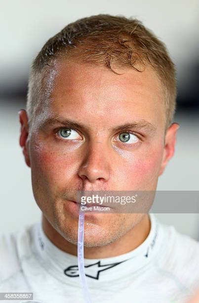 Valtteri Bottas of Finland and Williams looks on in the garage during practice for the Formula One Grand Prix of Brazil at Autodromo Jose Carlos Pace...