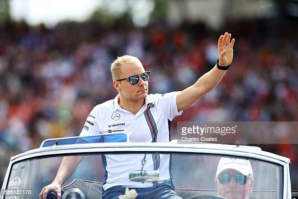 Valtteri Bottas of Finland and Williams on the drivers parade before the Formula One Grand Prix of Germany at Hockenheimring on July 31 2016 in...