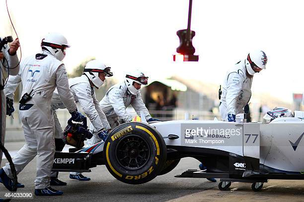 Valtteri Bottas of Finland and Williams returns to the garage during day three of Formula One Winter Testing at Circuit de Catalunya on February 21...