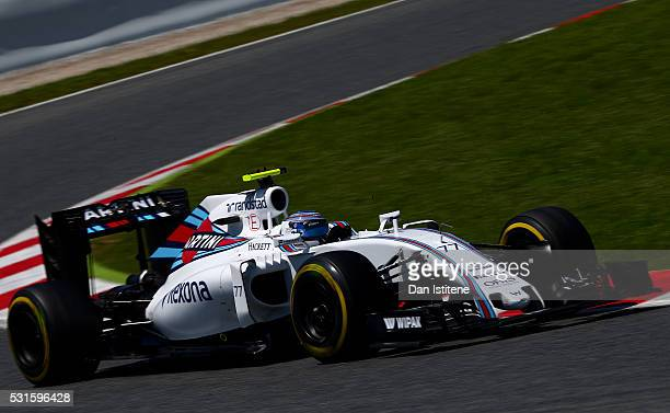 Valtteri Bottas of Finland drives the 7 Williams Martini Racing Williams FW38 Mercedes PU106C Hybrid turbo during the Spanish Formula One Grand Prix...