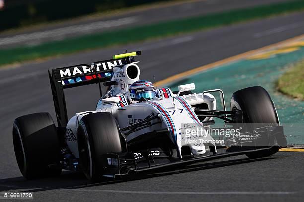 Valtteri Bottas of Finland drives the Williams Martini Racing Williams FW38 Mercedes PU106C Hybrid turbo on track during the Australian Formula One...