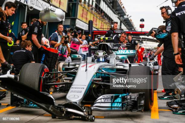 Valtteri Bottas of Finland driving for Mercedes AMG Petronas enters pit lane on Friday Free Practice during the 2017 Rolex Australian Formula 1 Grand...