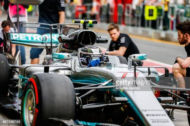 Valtteri Bottas of Finland driving for Mercedes AMG Petronas exits pit lane on Friday Free Practice during the 2017 Rolex Australian Formula 1 Grand...