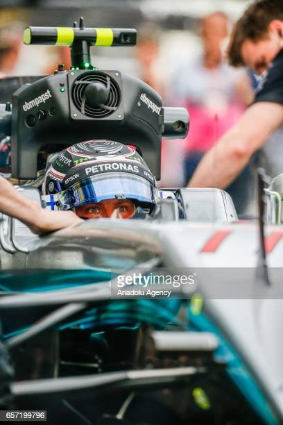 Valtteri Bottas of Finland driving for Mercedes AMG Petronas in pit lane in his cockpit on Friday Free Practice during the 2017 Rolex Australian...